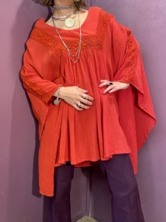 【1980s COTTON RED TUNIC】