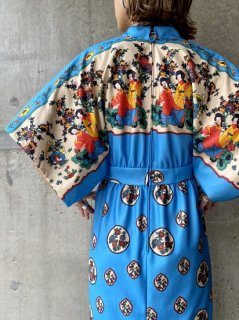 【1970s ASIAN PRINT BLUE DRESS】
