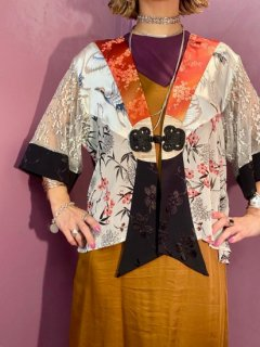 【CHINA DESIGN SHEER HAORI RED】