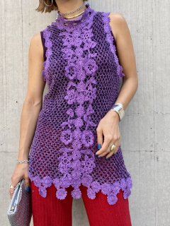 【SLEEVELESS PURPLE KNIT TOP】