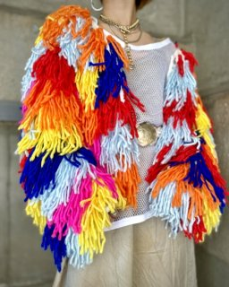 【MULTI COLOR SHAGGY KNIT JACKET】