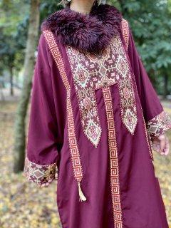 【1970s DEEP RED KAFTAN DRESS】