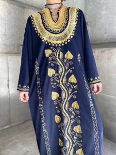 【GOLD EMBROIDERED KAFTAN DRESS】