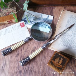 王冠を掲げたデスクセット/Vintage Magnifying glass & Letter opener with Crown Ornament