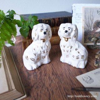 眉毛が凛々しい高貴な一対のスパニエル / Vintage Royal Dolton Staffordshire Dog