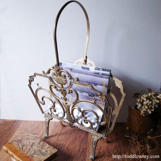 Vintage Ornate Metal Magazine Rack
