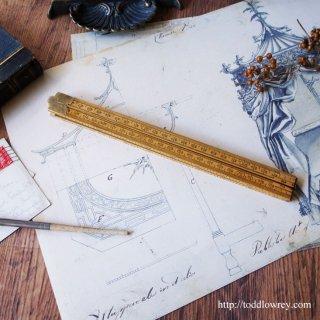 オランダと英国、センチとインチのストーリー/ Vintage Four-Fold Boxwood Rules