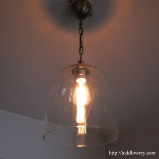 ともしびを包む透明な半球/ Vintage Clear Glass Shade Pandantlamp