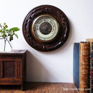 気圧の変化を読みとく壁面の芸術品 / Antique Victorian Caving Mahogany Barometer