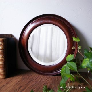 風格あふれる輝きの輪 / Antique Mahogany Framed Beveled Circle Mirror