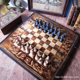 Vintage Chad Valley Chessmen & Folding Chess Board