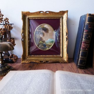 Vintage Itarian Oil Painting with Ornate Frame