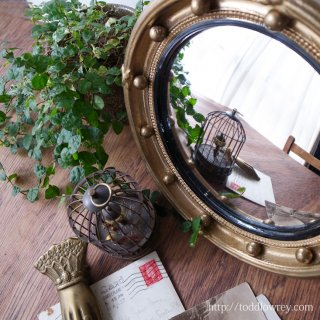 Antique Regency Style Giltwood Convex Table Mirror