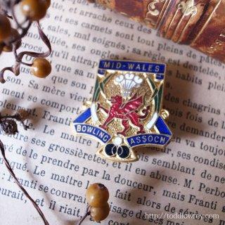ウェールズのドラゴンと皇子の羽と/ Vintage Enamel Badge of Bowling Club