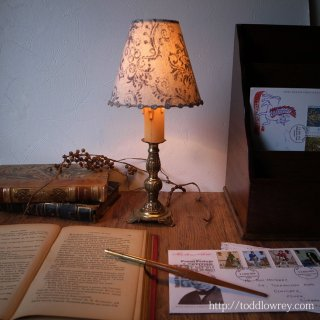 可憐な灯をいつも傍らに / Antique French Table Lamp with Shade A