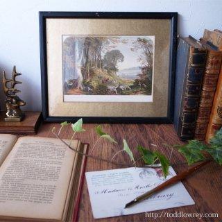 まどろみの朝に響く角笛 / Antique Color Wood Engraving by F. LYDON & B Fawcett