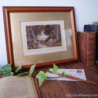 疲れ果てた旅人たちへ / Antique Print by GEORGE BARRETT Jr with Vintage Frame