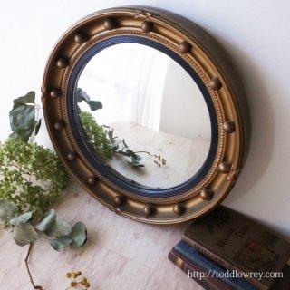 堂々たる金彩に囲まれた球形の窓 / Vintage Regency Style Giltwood Convex Mirror by ASTONEA