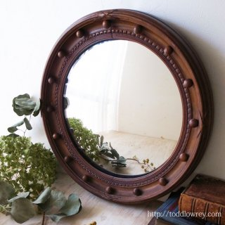 優しい木の色に縁取られた凸面鏡 / Antique Victorian Regency Style Wood Convex Mirror