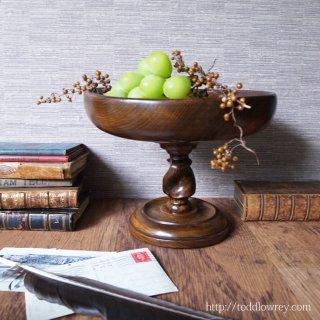 Antique Oak Barley Twist Fruit Bowl on Stand