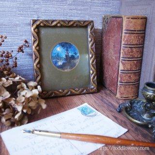 三日月かかるイヴェット川の水辺 / Antique Watercolor Painting with Guilt Frame