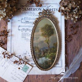 遥かな古城を眺める緻密な世界 / Antique Painting with Rococo Frame B