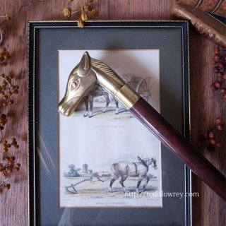 Vintage Three Pieces Horse Head Walking Stick with Flask