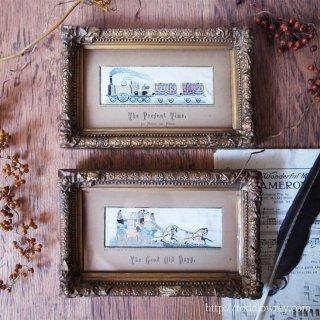 シルクの刺繍絵が描き出すヴィクトリアンの交通手段 / Antique Victorian Pair of Stevengraph with Ornate Gilt Frame