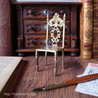小さくゴージャスな金色の椅子 / Antique Miniature Brass Chair B
