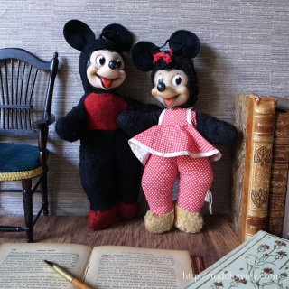 夢見ることを忘れない / Vintage Micky & Minnie Mouse Soft Toy by SEMCO