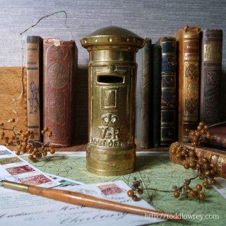 働き者のポストをお手元に / Antique Brass Pillar Box Money Bank