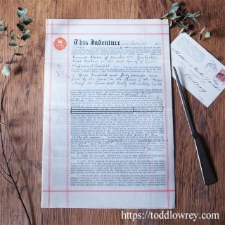 ブラッケンアヴェニュー34番地の賃貸契約書 / Antique Indenture of Lease No.34 Bracken Avenue Nightingale Lane