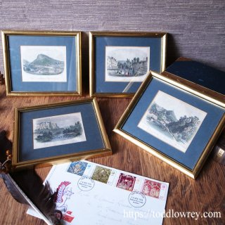 ヴィクトリアンの景勝地で心を癒そう / Antique Hand Coloured Topography Lithograph with Frame set of 4