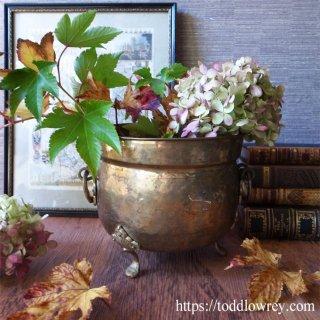 鈍く輝く絵になるポット / Antique Brass Pot with Handles