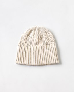 mature ha. long rib knit cap tiny rope lanb OFF WHITE