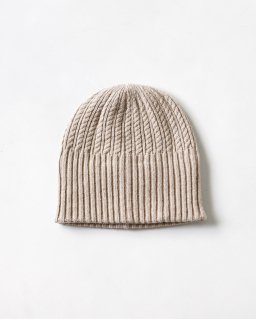 mature ha. long rib knit cap tiny rope lanb LIGHT BEIGE