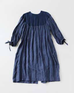 the last flower of the afternoon 月夜のround yoke sleeve dress INDIGO