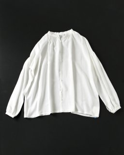 humoresque gather blouse silk WHITE