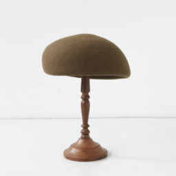 mature ha. japanese old wooden block beret MOCHA 19AW
