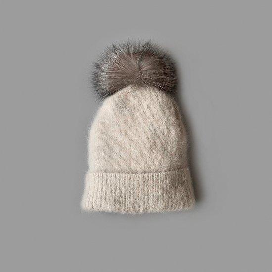 mature ha. pleats knit cap blue fox with pon