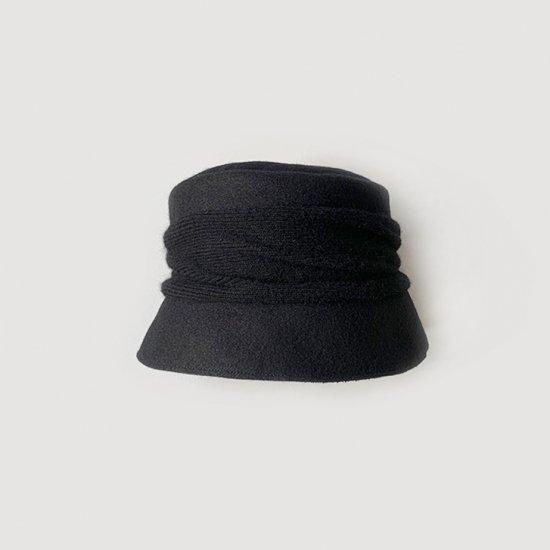 mature ha. melton drape hat short black