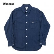 <img class='new_mark_img1' src='//img.shop-pro.jp/img/new/icons13.gif' style='border:none;display:inline;margin:0px;padding:0px;width:auto;' />WORKERS/ワーカーズ LT Work Shirt ワークシャツ Indigo Doby