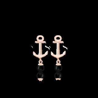 Anchor Pearl ピアス ローズゴールド/オニキス