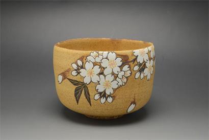 鉄絵掛分釉彩茶碗「桜」