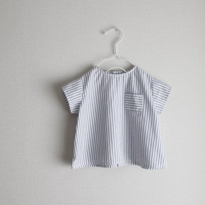 Cotton linen stripe collarless shirt