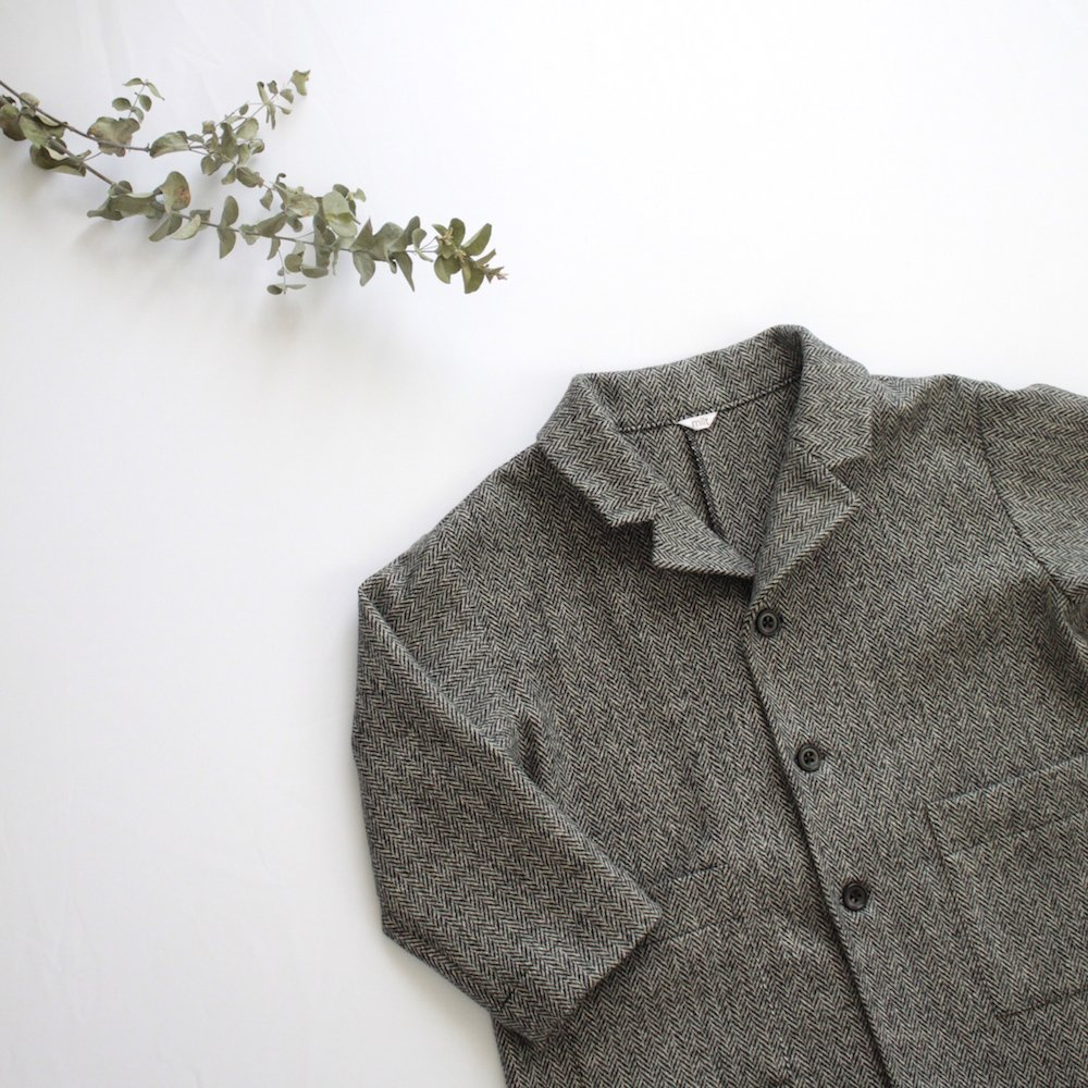 Wool herringbone chester coat