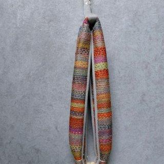 インド 木版+カンタ刺繍 縞 花緒