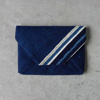 正藍型染 田中昭夫 × タイ藍染木綿 数寄屋袋  大きめ