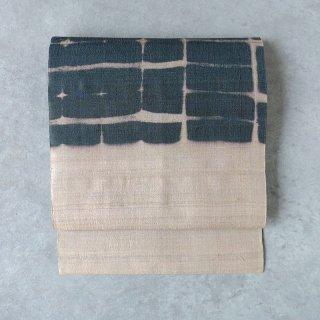 インド 板締め絞り [墨]   名古屋帯(仕立て上がり)