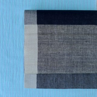 maki textile studio(インド手織り布)名古屋帯 モノトーン大格子
